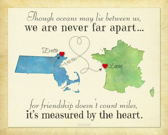 Going Away Gift For Friend Long Distance Friendship Never Far Apart Quote Birthday Idea