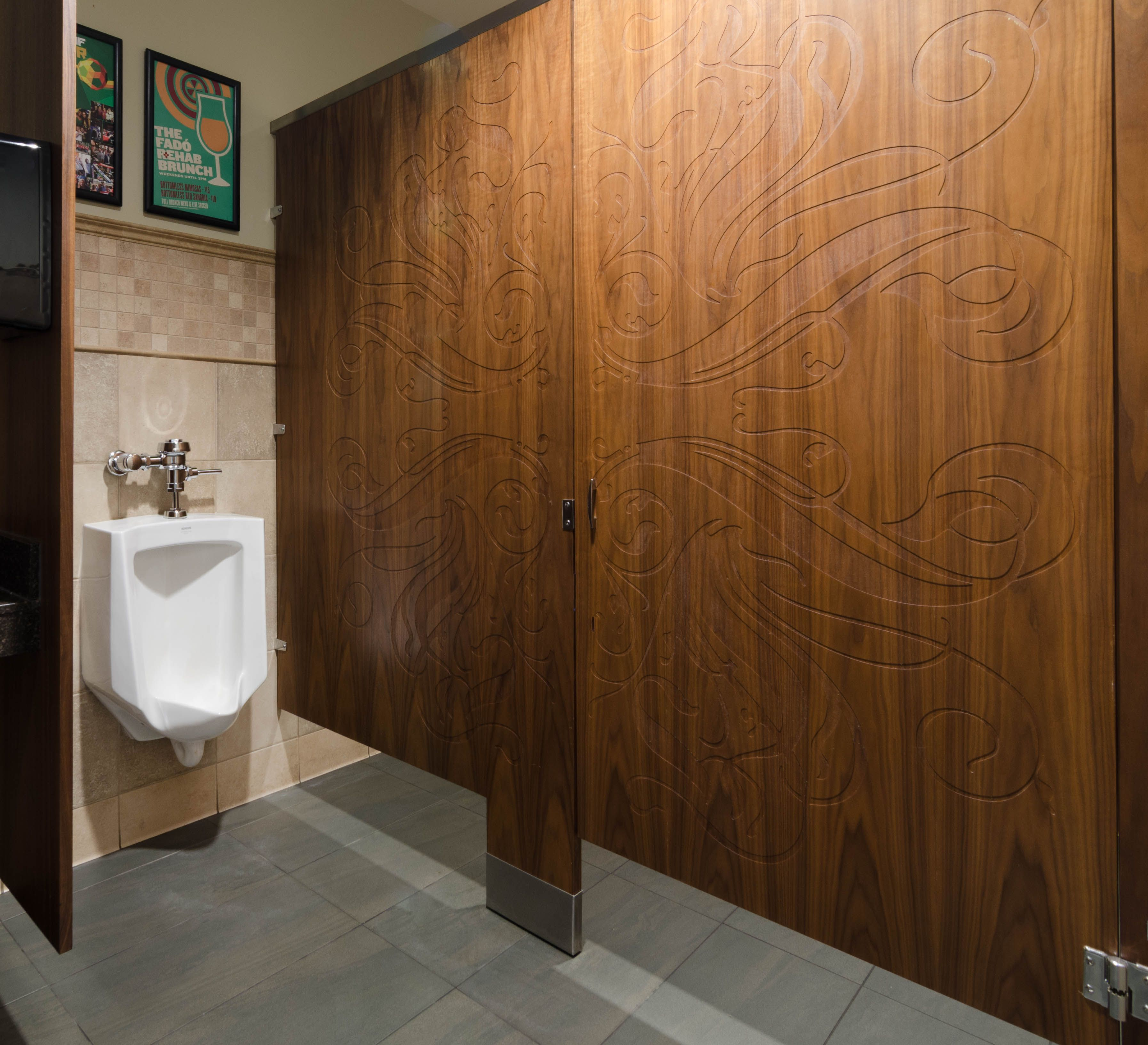 Ironwood Manufacturing Wood Veneer Toilet Partition And Engraved Bathroom  Doors. Beautiful, Upscale Public Restroom Stalls.