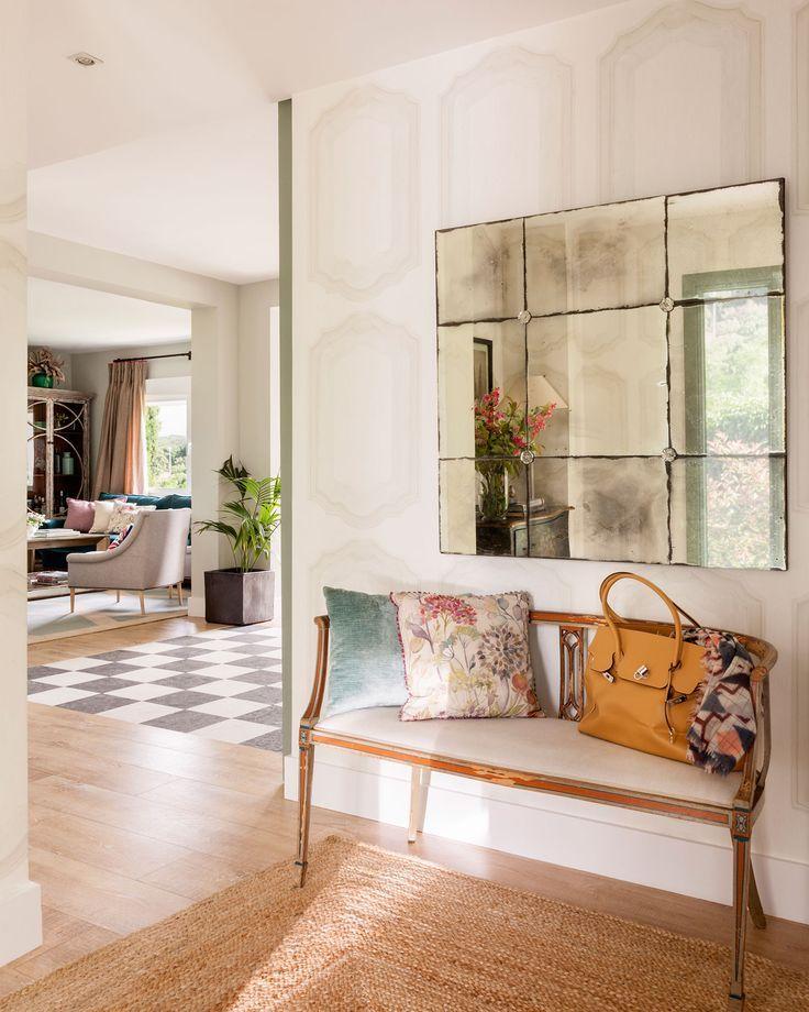 Resultado de imagen de espejo envejecido horizontal hall for Espejo blanco envejecido
