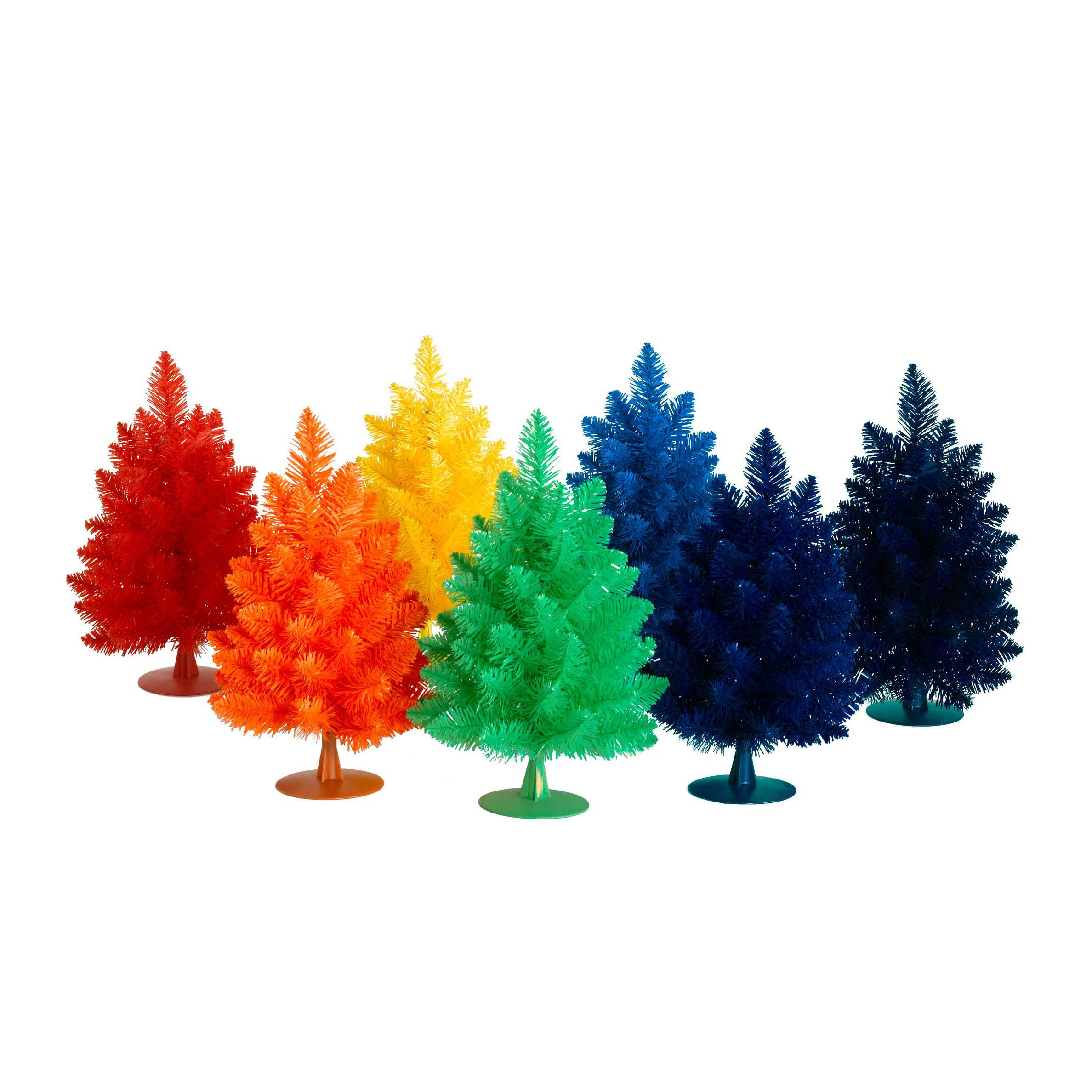 Rainbow Christmas Trees: Rainbow-Riffic Mini Christmas Trees. The 7-tree Set Is On