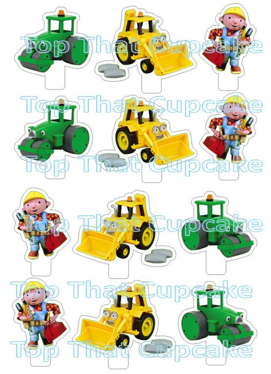 Downloadable Bob The Builder Cupcake Toppers Stand Up Birthday