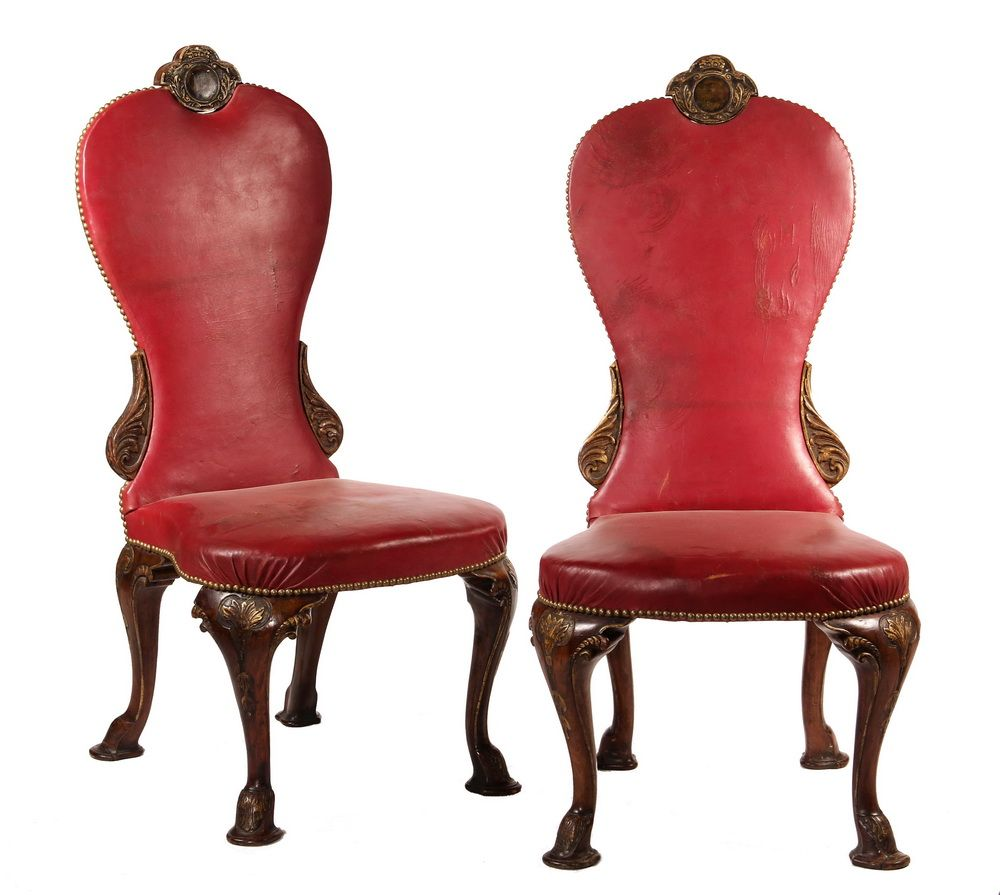 PAIR OF PARLOR CHAIRS   English Renaissance Revival Court Style Chairs In  Oxblood Leather Upholstery,
