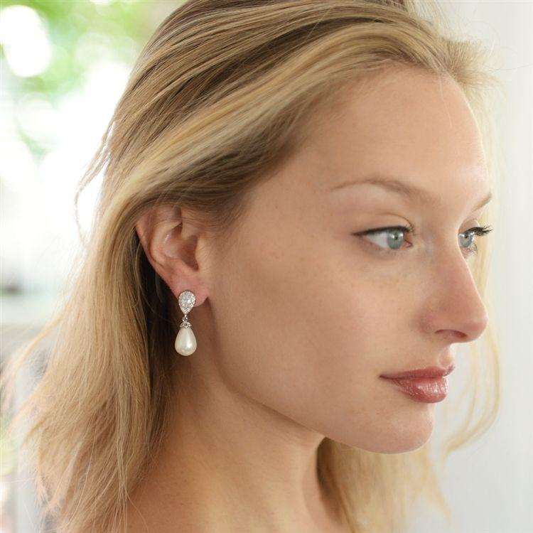 Cz and soft cream pearl drop wedding earrings in pierced