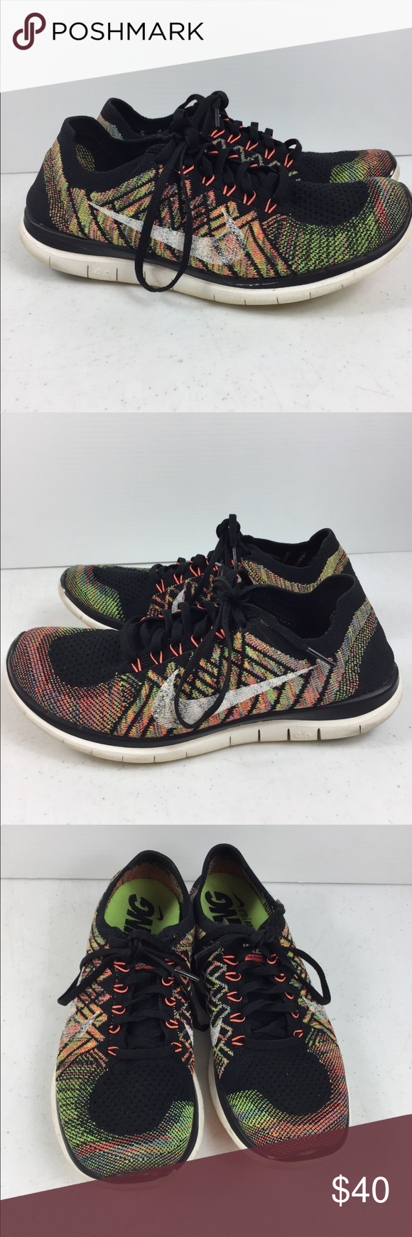 96fab37418741 NIKE Free 4.0 FLYKNIT Trainer Shoe Mens 8.5 NIKE Free 4.0 FLYKNIT  717075-011 Black Crazy Full Spectrum Trainer Shoe Mens 8.5 Nike Shoes  Sneakers