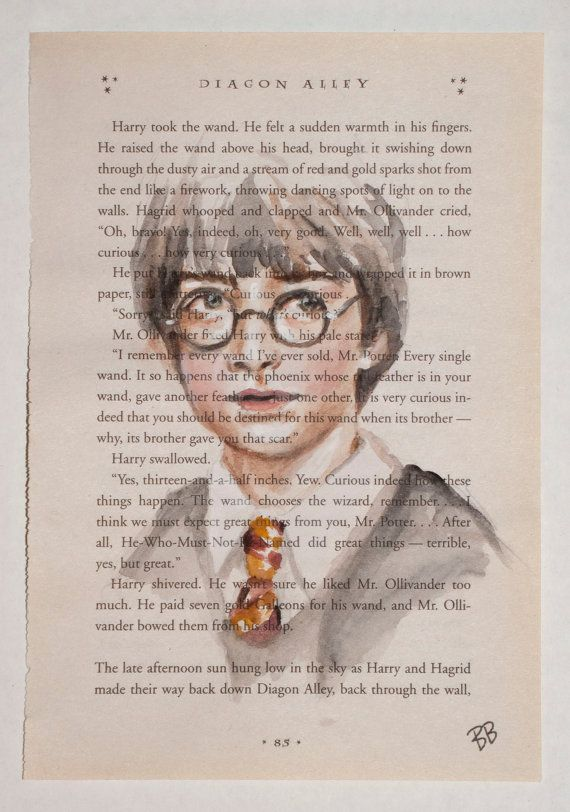 Harry Potter Book Pages : Original watercolor harry potter book page