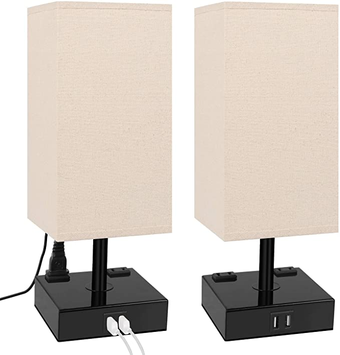 3 Way Dimmable Touch Control Table Lamp Dicoool Bedside Lamp With 2 Usb Charging Ports 2 Ac Out In 2020 Table Lamps For Bedroom Touch Table Lamps Modern Lamps Bedroom