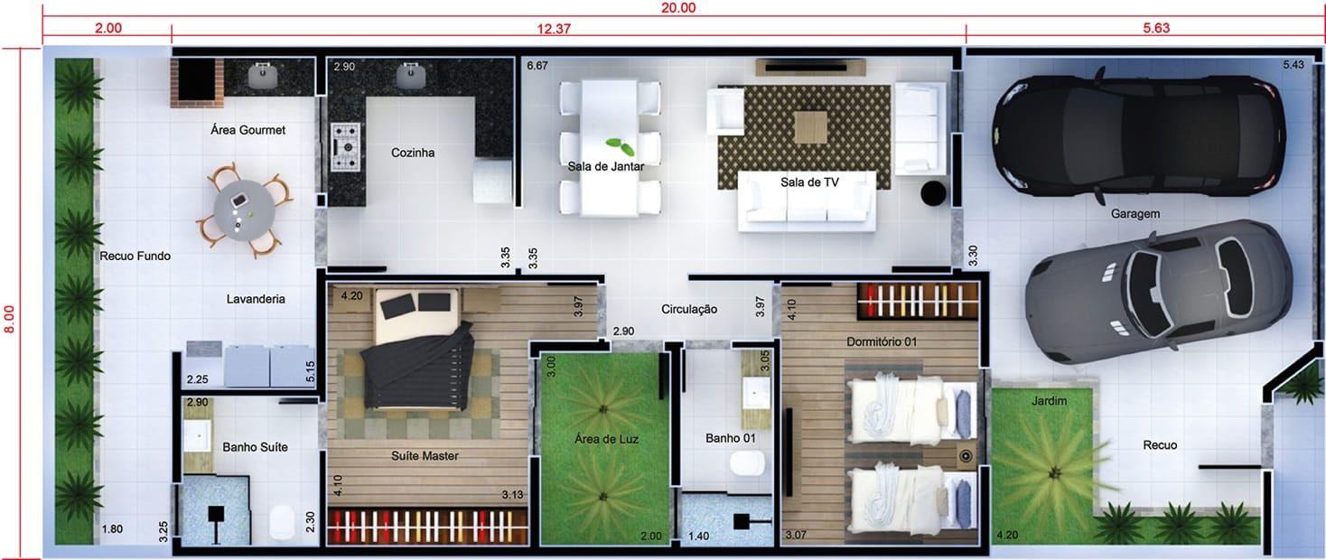Plano De Casa Con Alta Techos De Cristal Plano Para Terreno 8x20 Planos De Casas Disenos De Casas Casas