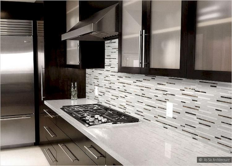 Gorgeous Kitchen Backplash With Dark Cabinet