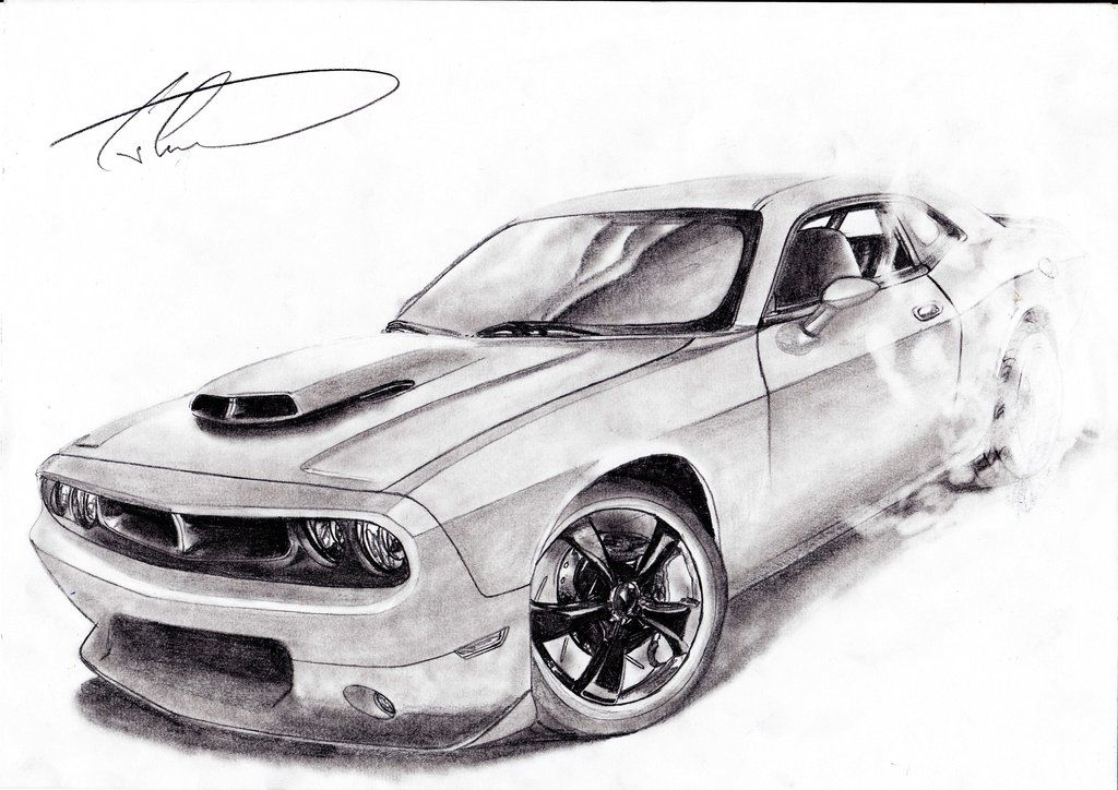 Dodge Challenger Burnout By Ciocolatac On Deviantart Dodge Challenger Car Drawings Cool Car Drawings