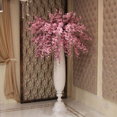 Hot Sell Artificial Cherry Blossom Tree Fake Cherry Flower Tree For Wedding Decoration With Artificial Cherry Blossom Tree Blue Vase Centerpieces Cherry Flower
