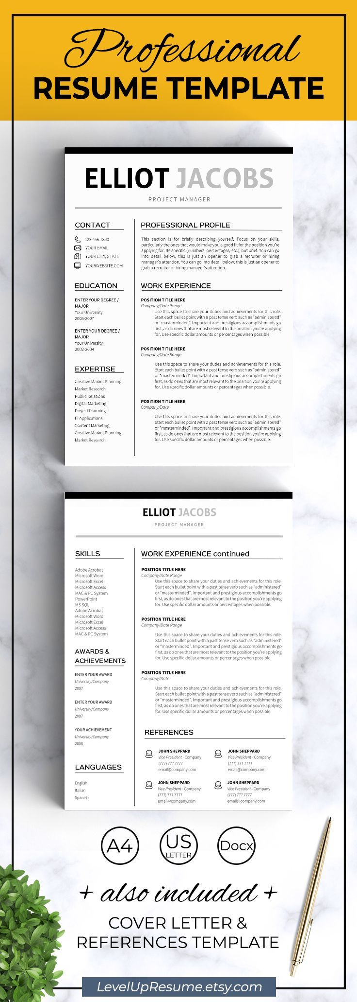Minimalist Resume template Instant download Clean resume