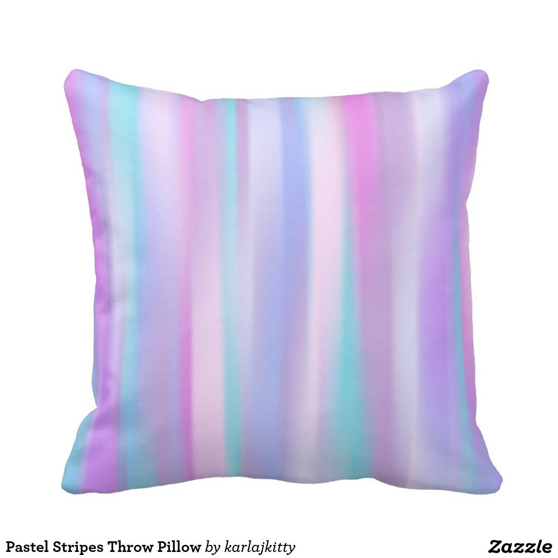 Pastel Stripes Throw Pillow Painted stripes of teal, blue, pink