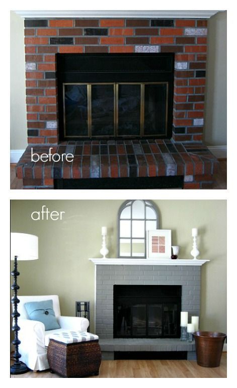 255579347578083498 Updated dated 80s brick and brass fireplace door with paint. Easy and cheap way to makeover a fireplace.