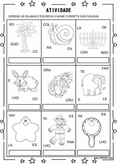 4 Atividade Silabas Complexas Formacao De Palavras Com Imagens