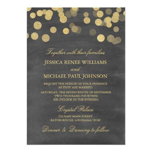 Chalkboard Gold Glitter Wedding Invitations