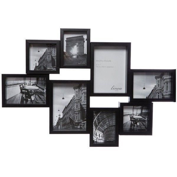 Linea Black 8 multi aperture photo frame ($29) ❤ liked on Polyvore ...