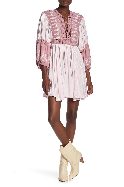 Free People Turn Heads Lace Inset Mini Dress Mini Dress With
