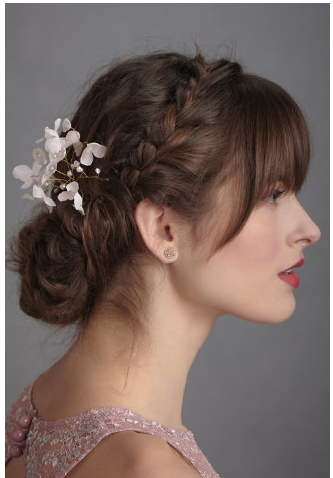 Loose Natural Updo W Braid Wedding Hair Bangs Hairstyles With Bangs Bridesmaid Hair