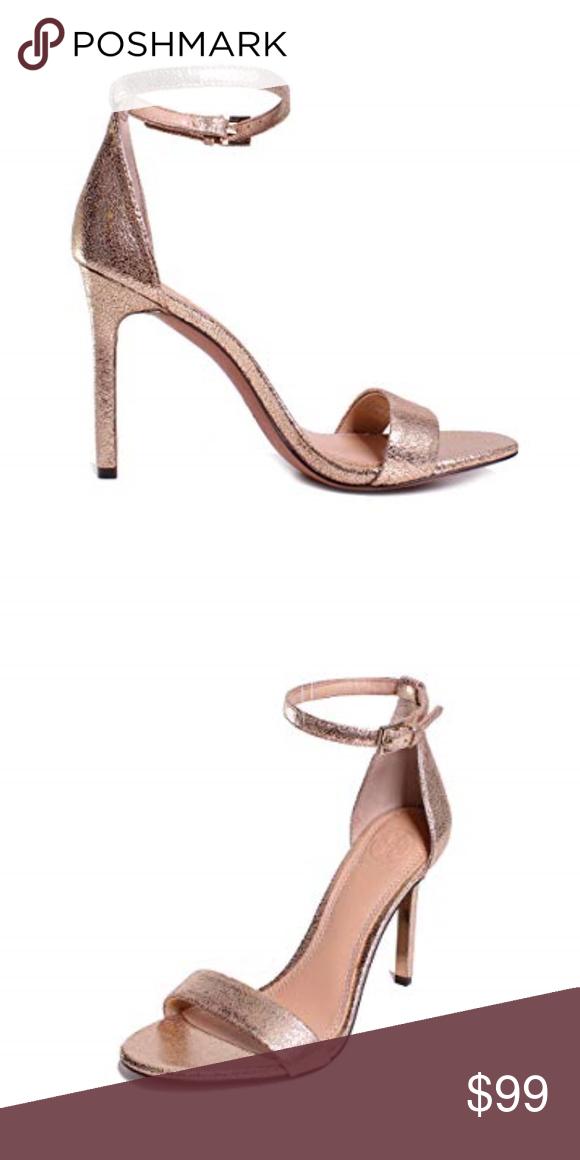 6d514210ec268 Tory Burch Keri Metallic Sandals in Platinum Crackled mirror-metallic  leather brings a glamorous feel to simple Tory Burch sandals.