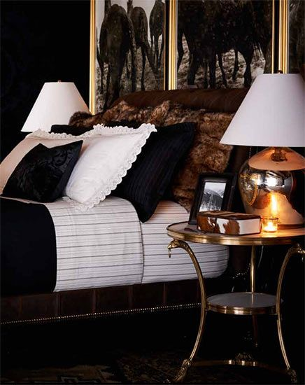 Bed With Striped Sheeting, Lace Trim Pillows U0026 Plush Pillows ... A