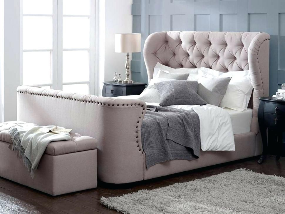 Wingback Bed Frame Upholstered Queen Bed Frame With Tufted