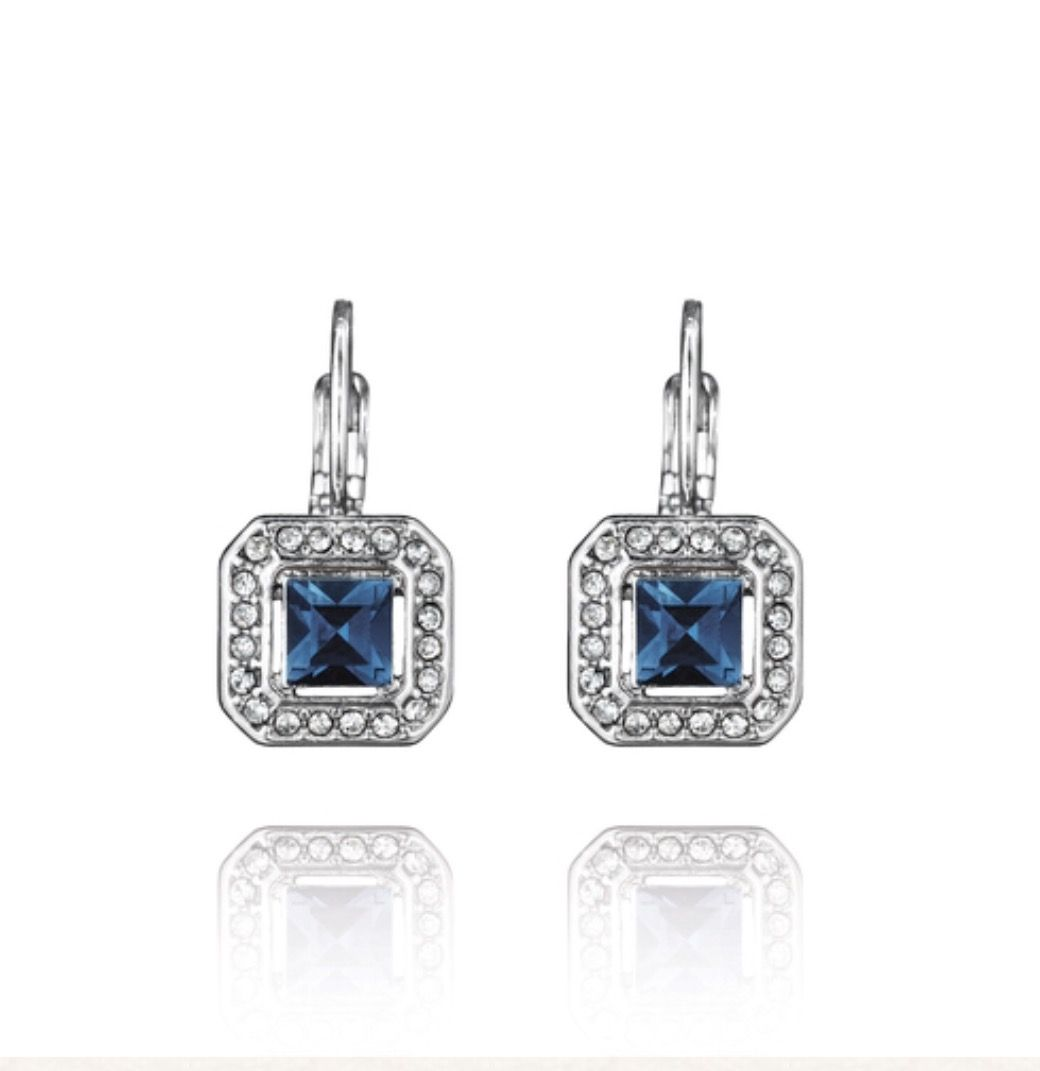Perfect bridesmaids gifts. Enjoy 15% off when purchasing 3-5 and 20% for 6+ of this item. https://www.chloeandisabel.com/boutique/candibykim/products/E238BL/crystal-square-drop-earrings #chloeandisabelbykim  #bridesmaidgift  #bridesmaidjewelry #bluejewelry