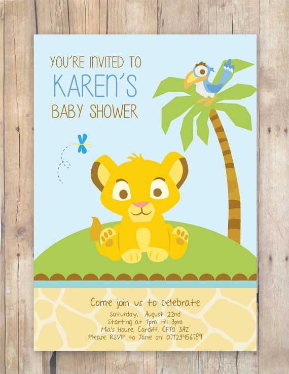 lion king baby shower invitation jungle invitation disney invite, invitation samples