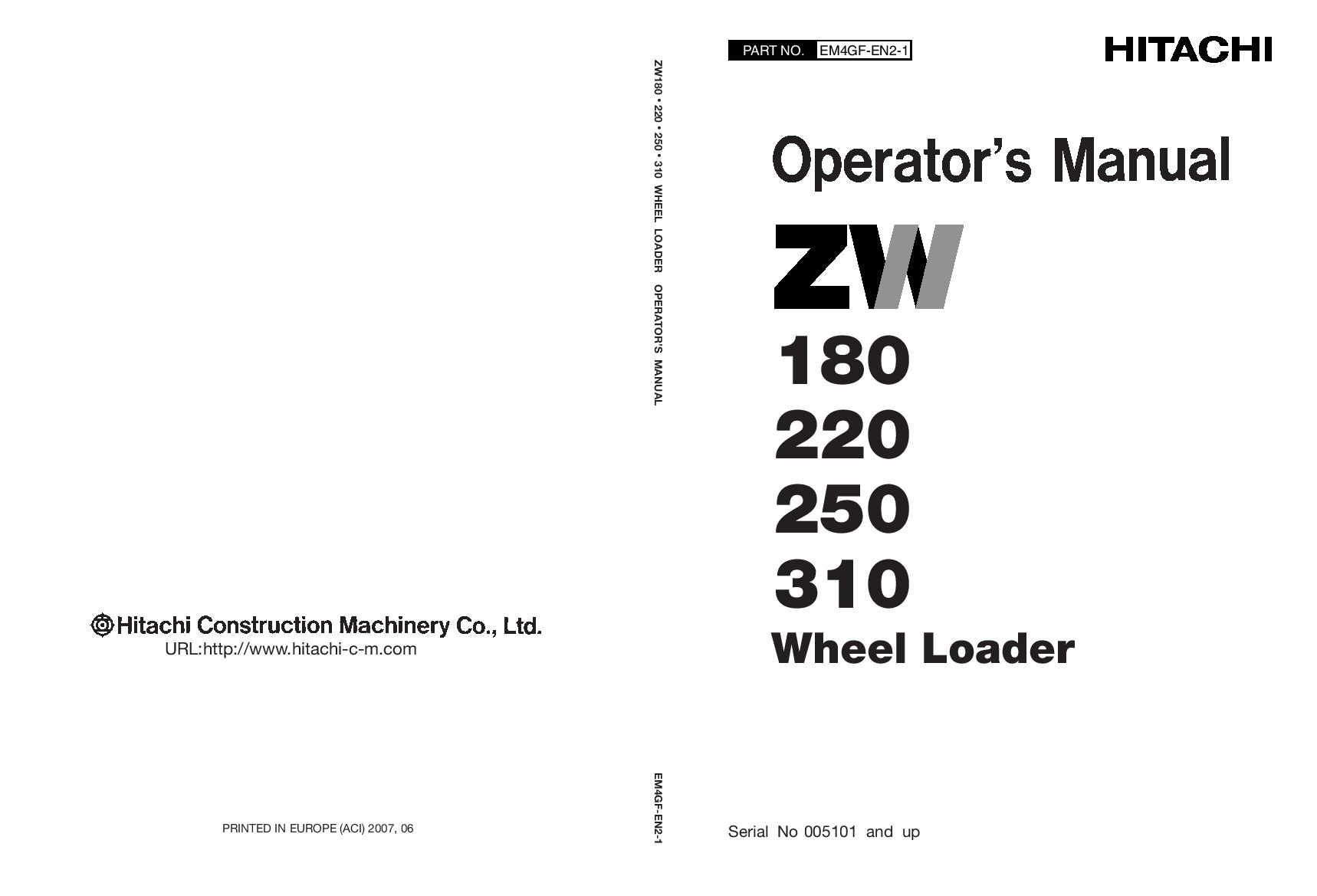 Hitachi Zw180 220 250 Zx310 Wheel Loader Operation And Maintenance Manual Pdf Download Service Manual Repair Manual Pdf Download Operation And Maintenance Hitachi Repair Manuals