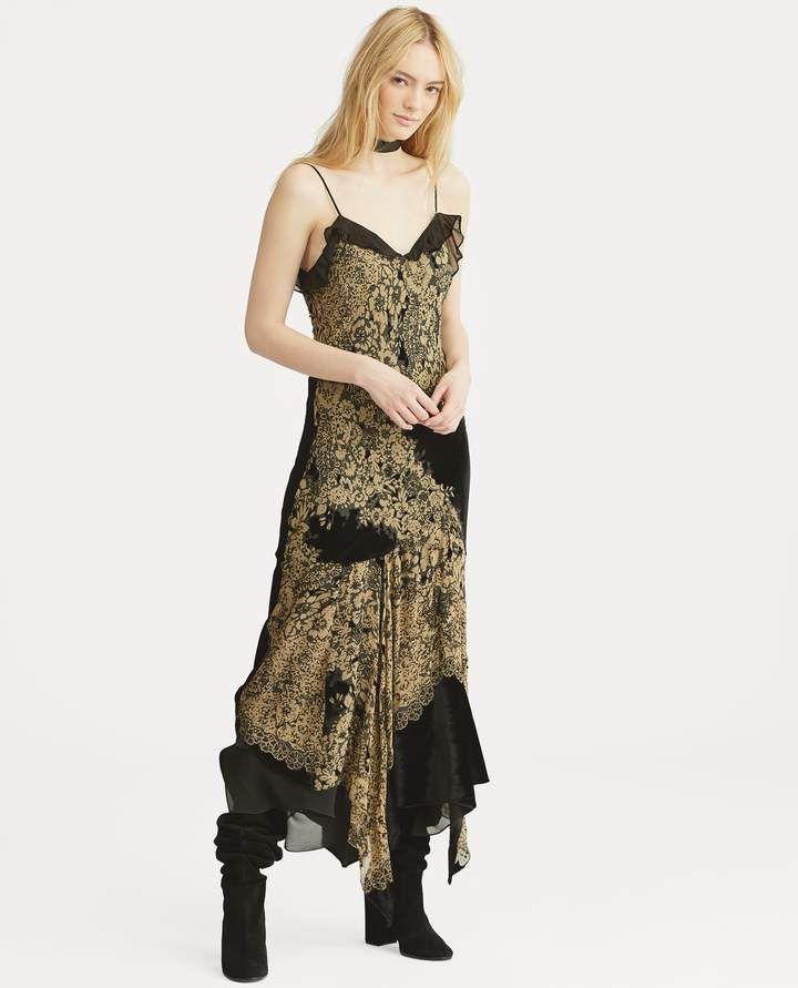 a1ec382e113a7 Ralph Lauren Velvet-Trim Floral Slip Dress | Products | Dresses ...