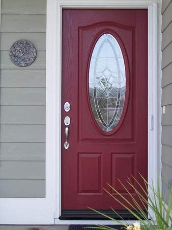 Grey Siding White Trim Red Burgundy Front Door