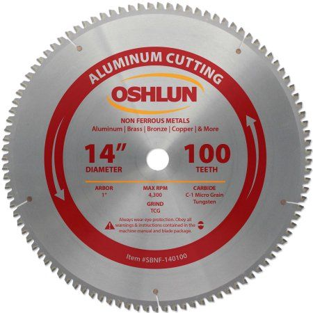 Oshlun SBNF-140100 14-Inch 100 Tooth TCG Saw Blade with 1-Inch Arbor for