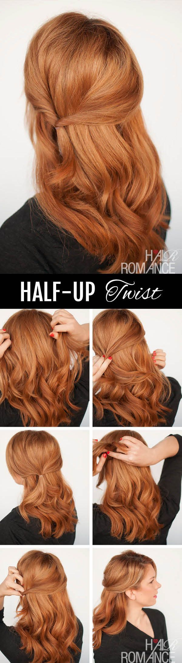 Half-up Twist Hairstyle Tutorial - Hair Romance #hairstyleideas