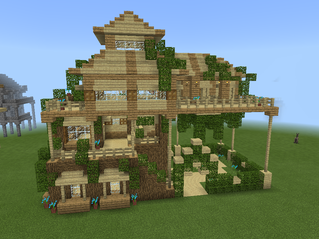 Simple Leafy Minecraft House, Good For Survival As It's