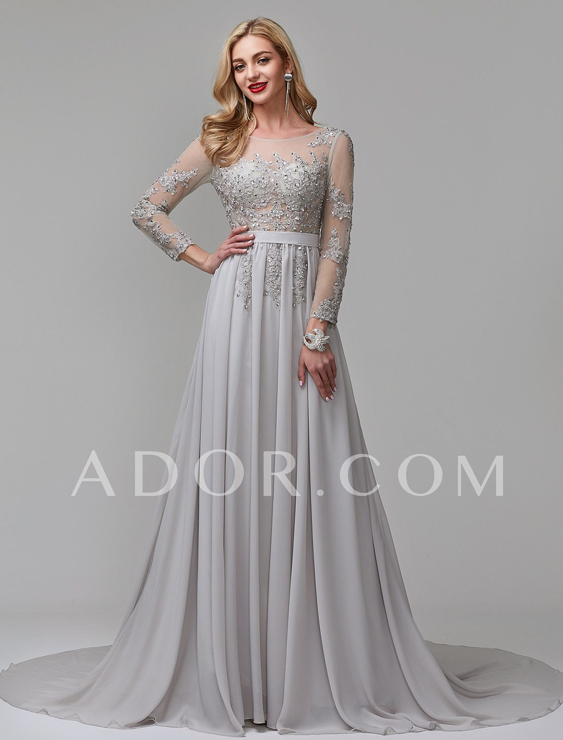 7dc8a2e57ab1 ADOR Evening Dress A-Line Illusion Neck Chapel Train Chiffon / Lace Over  Tulle See Through with Appliques / Pleats 7035206 2019 – $119.99