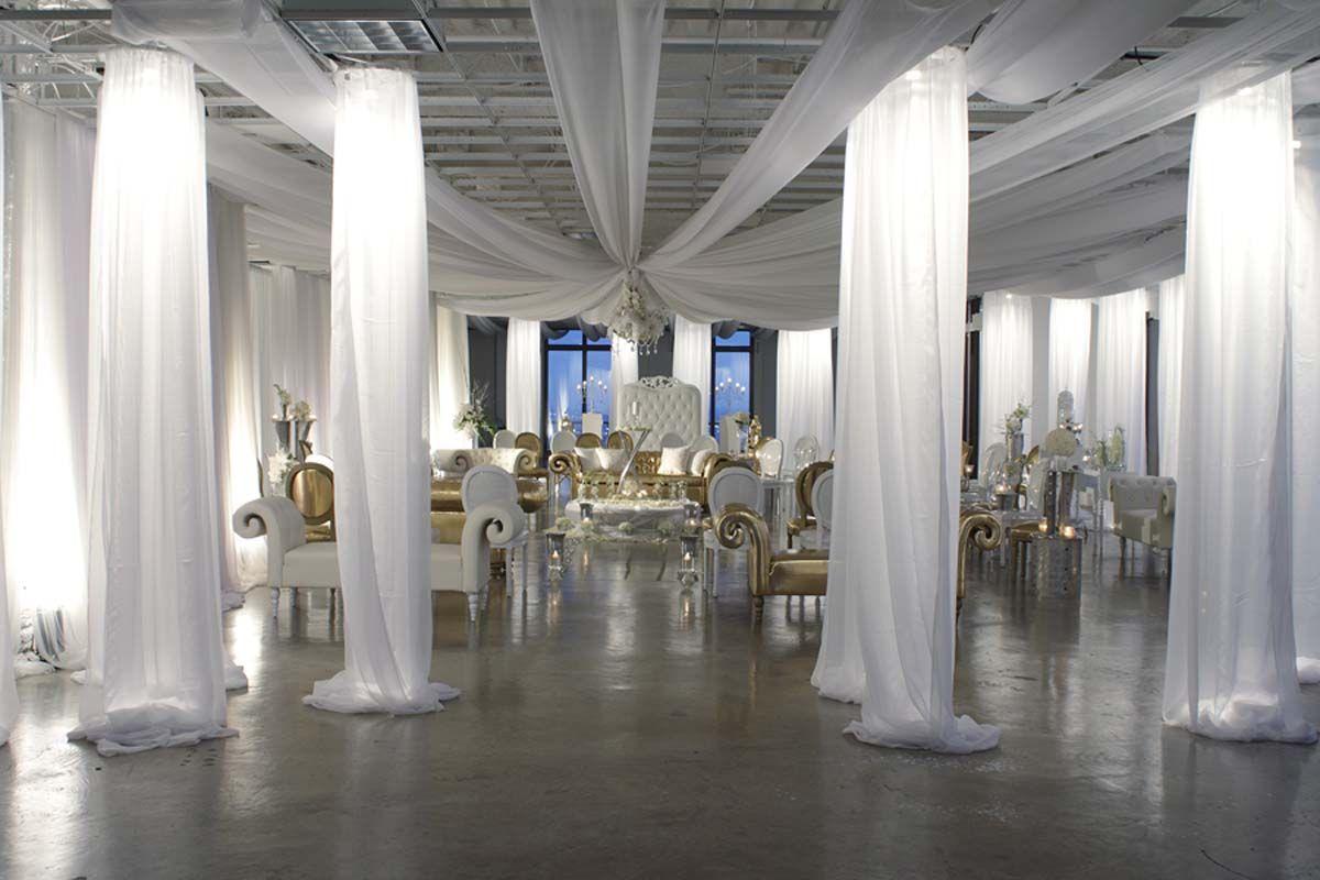 White Draping Columns Wedding Lights Wedding Inside Wedding