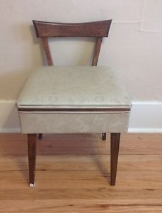 Vintage Mid Century Wood Piano Sewing Desk Vanity Bench Stool Chair Seat  Storage