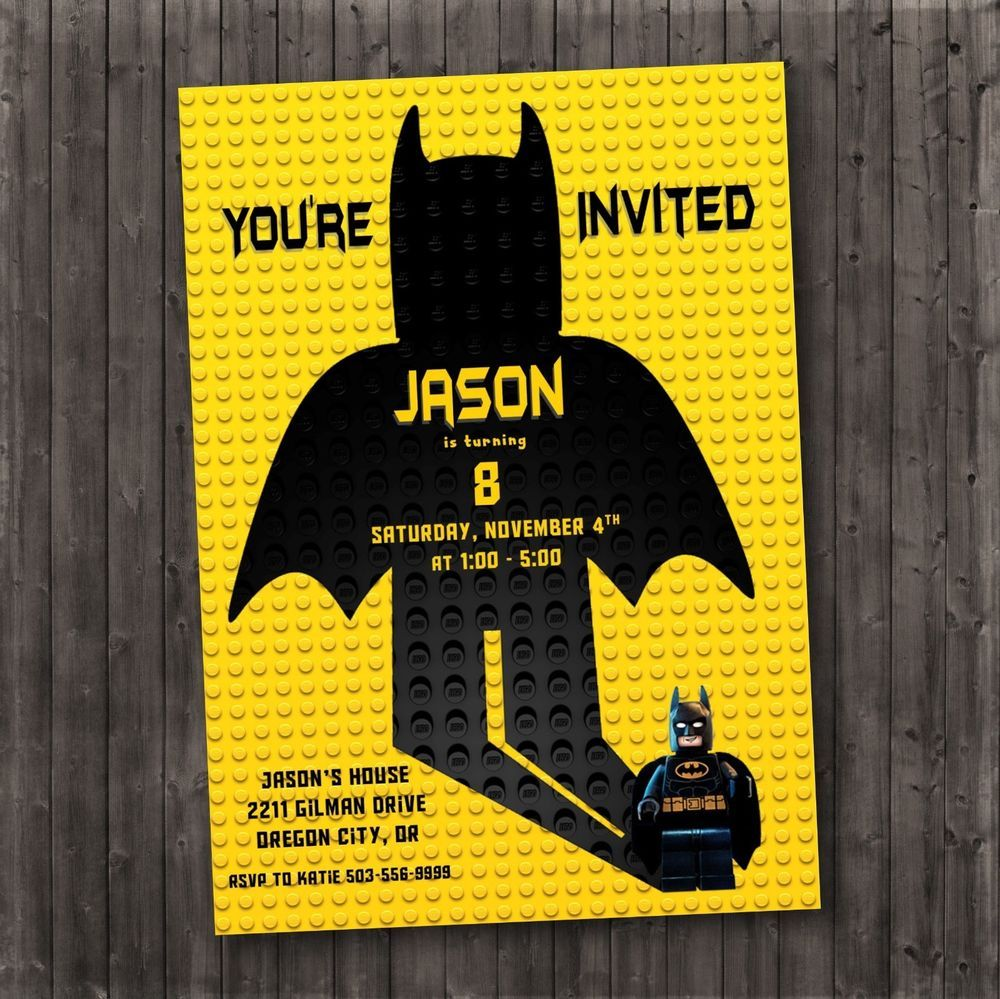 Batman Birthday Invitation Batman Party Custom Jpeg Pdf