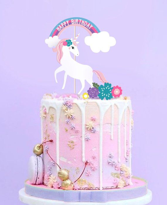 Printable Unicorn Cake Topper Unicorn Party Decor Etsy Unicorn Cake Topper Unicorn Birthday Cake Unicorn Cake