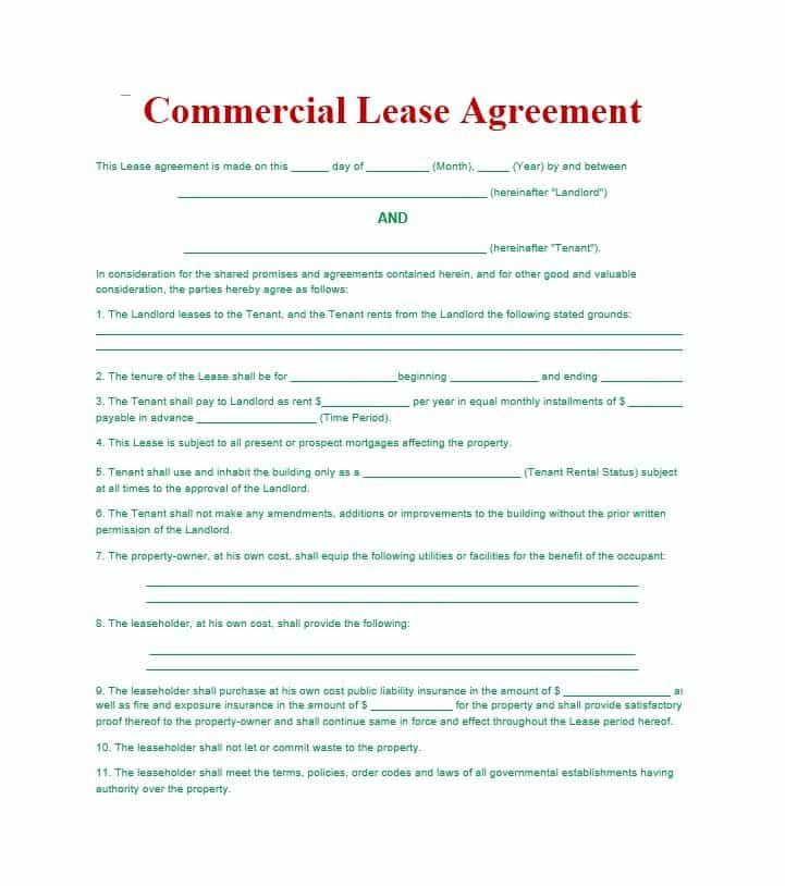 Simple Commercial Lease Agreement Template Pinterest - sample commercial lease agreements