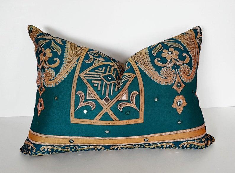 Teal Boho Pillows, Bohemian Pillow Covers, Repurposed Sari Pillows, Blue Green Gold Throw Pillows, 20x20
