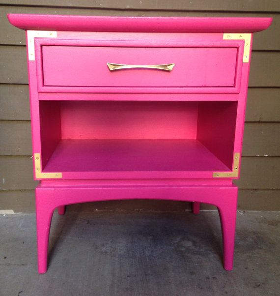 Bon Custom Mid Century Modern Nightstand / Side Table Hot Pink And Gold  Campaign Kent Coffey