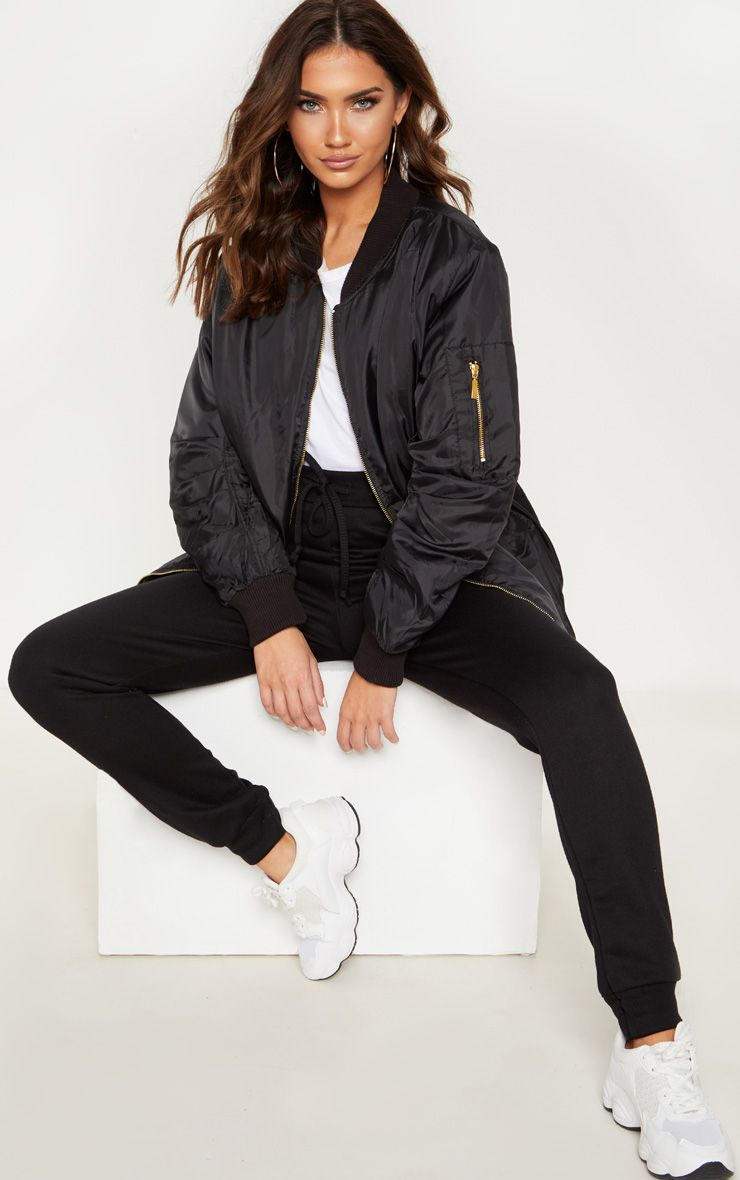 Shelbi Black Longline Bomber Jacket Jacket Outfit Women Bomber Jacket Outfit Black Bomber Jacket Outfit [ 1180 x 740 Pixel ]