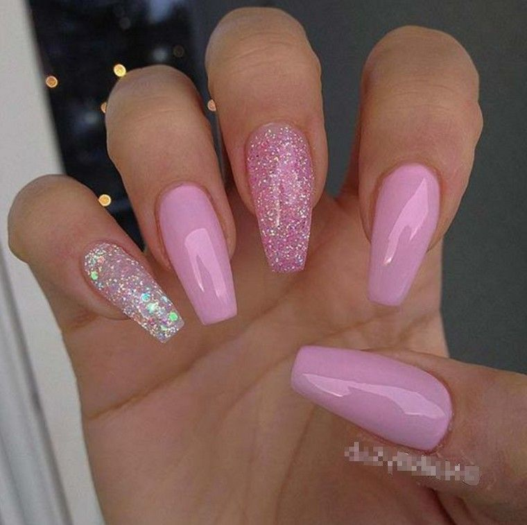 50 Best Eye Catching Pink Glitter Nails Design For Summer Party Diaror Diary Pink Glitter Nails Pink Gel Nails Pink Acrylic Nails