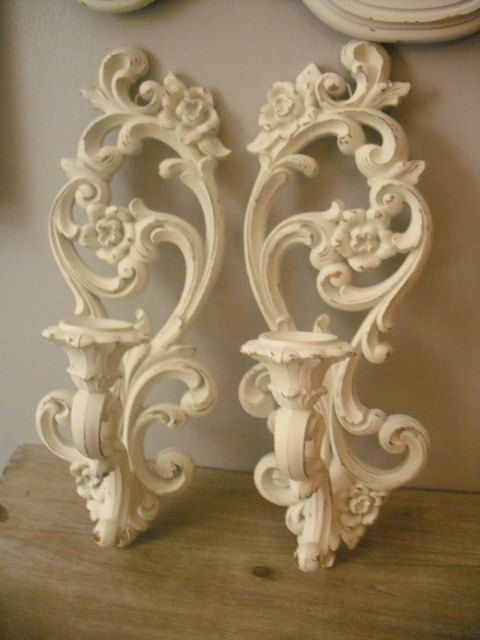 2 upcycled Scrolly Wall Sconces Romantic Shabby Chic cottage White ... Candle holders. $24.00, via Etsy.