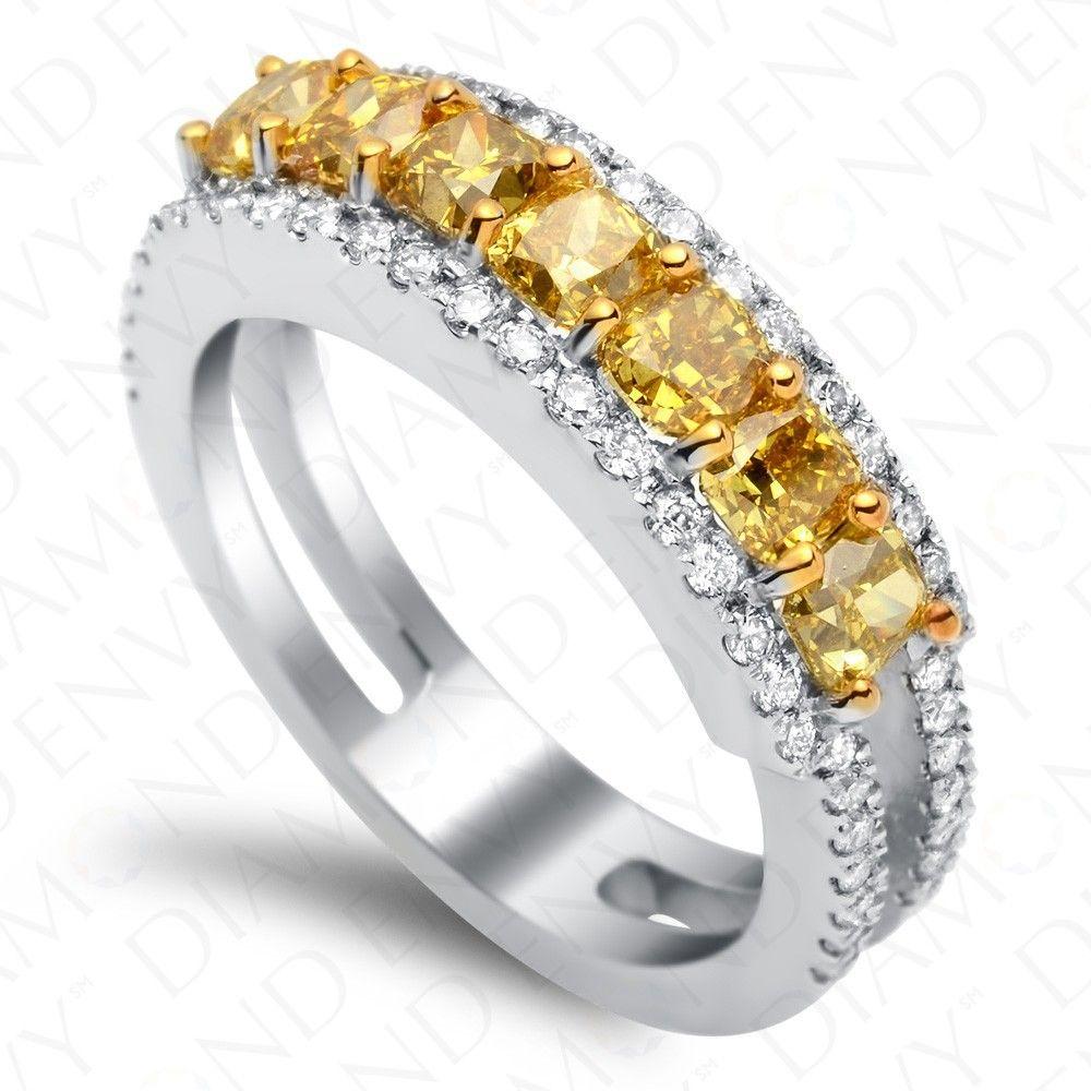 carat seven stone fancy deep yellow diamond ring in k white