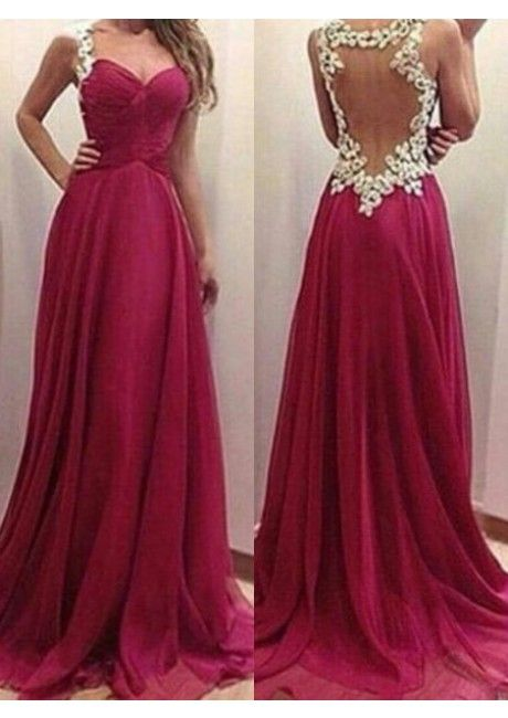 997b7164d53 Straps Full Back Appliques Ruched Chiffon Red A-line Floor Length  Sleeveeless Homecoming   Prom Dresses