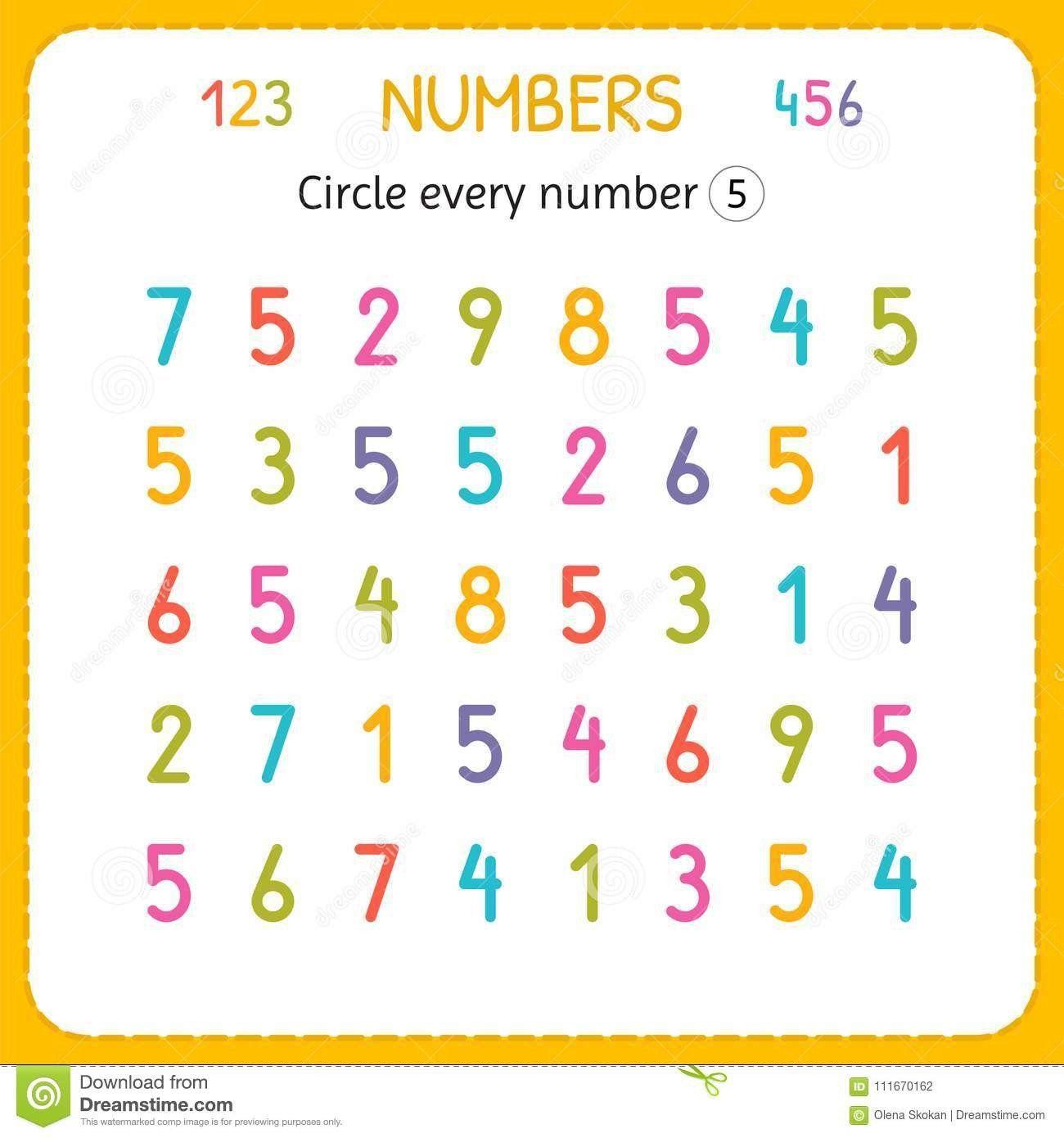 Number 5 Worksheet Preschool Circle Every Number Five
