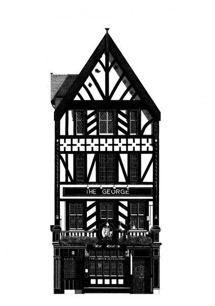 """""""The George pub london"""" Giclee print sur papier Hahnemuhle Albrecht Durer 210gr 42x59 cm - signé"""