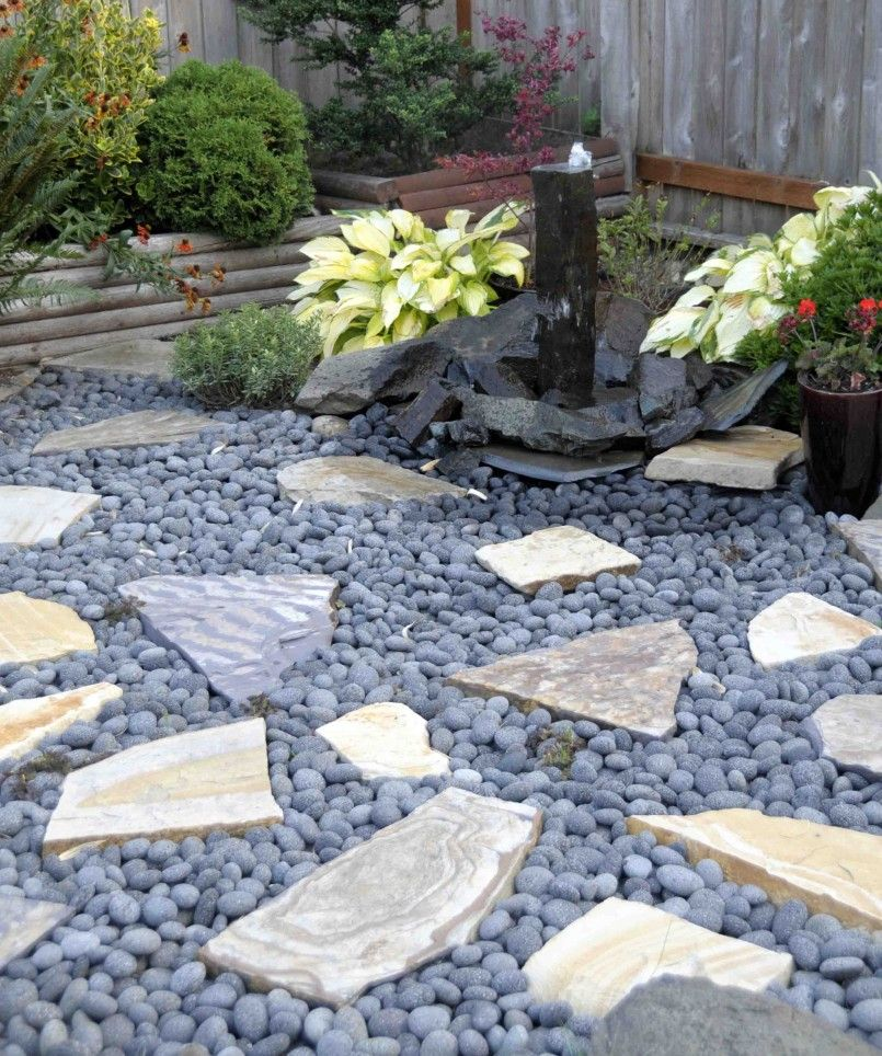 Love This Fountain And Black Lava Rock For Ground Cover