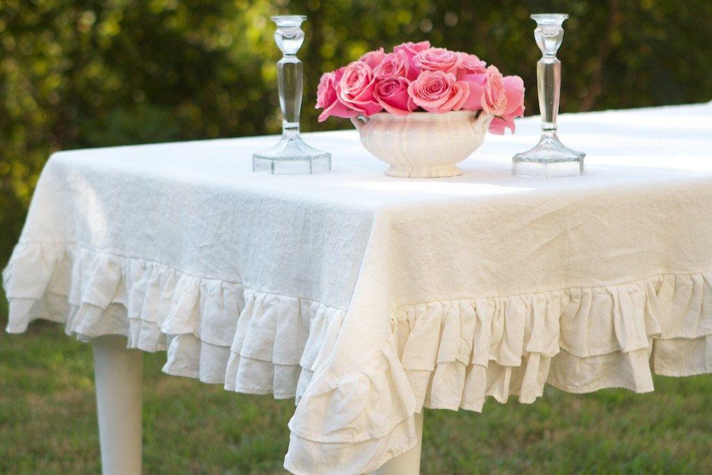 Great 60x144 Double Ruffled Linen Tablecloth Por Ruffledlinens En Etsy